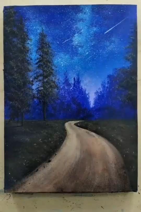 Painting of Country Road in Forest