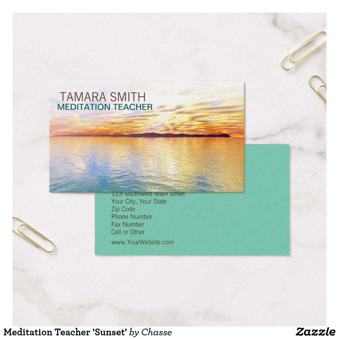 Meditation Teacher 'Sunset' Business Card