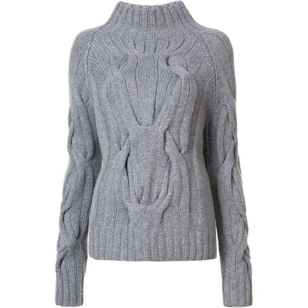 Sally Lapointe cable knit jumper (£610) ❤ liked on Polyvore featuring tops, sweaters, grey, gray sweaters, cable jumper, cable knit jumper, jumpers sweaters and grey sweater