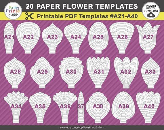 20 printable pdf paper flower templates petal templates a21 a40