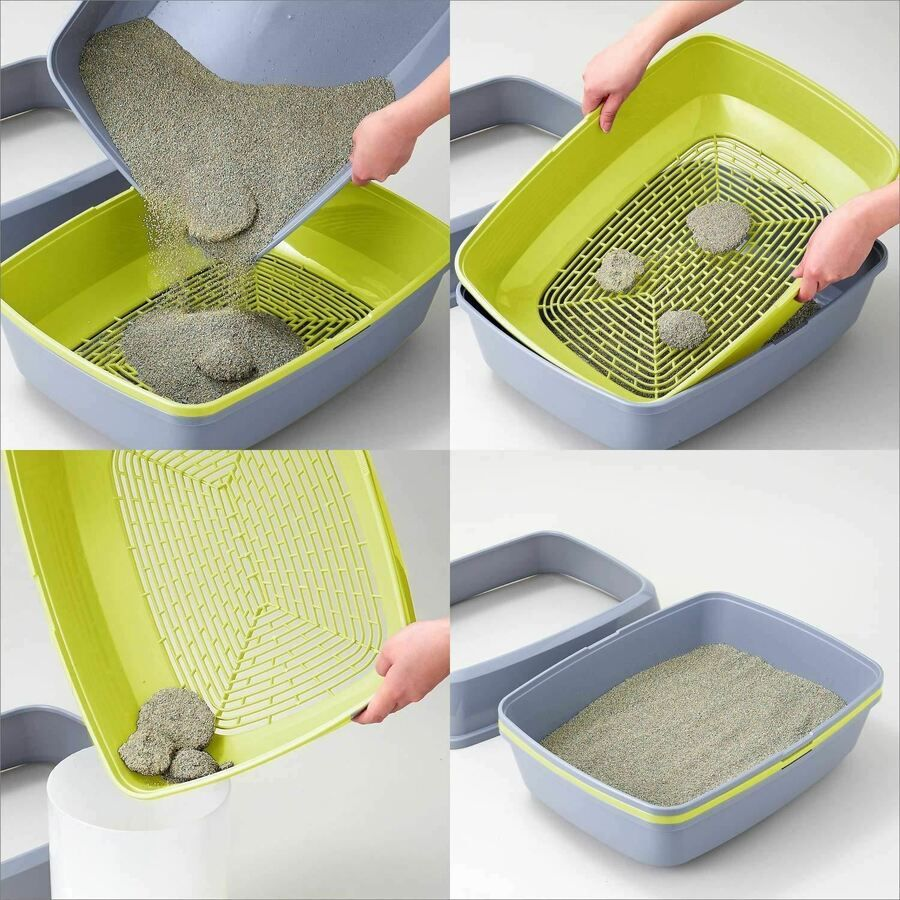 Cat Grey Scoopless Litter Tray Large Or Jumbo Sifting Toilet Box High Sided Xl Cat Litter Box Diy Diy Litter Box Cat Litter Box