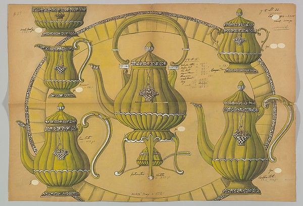 Design for a Silver Coffee and Tea Service Ornamented with Baskets of Flowers