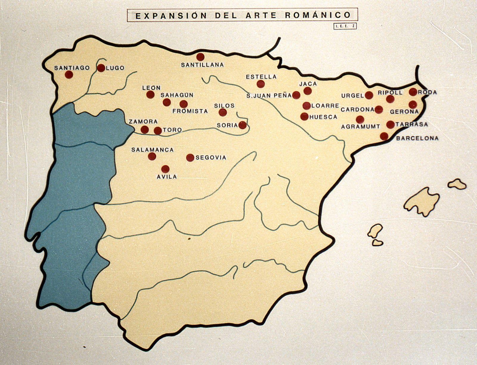 Mapa Arte Romanico En Espana