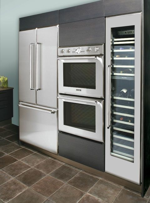 Marvelous Beautiful Designed Built In Kitchen Appliances Including A Wine Fridge.