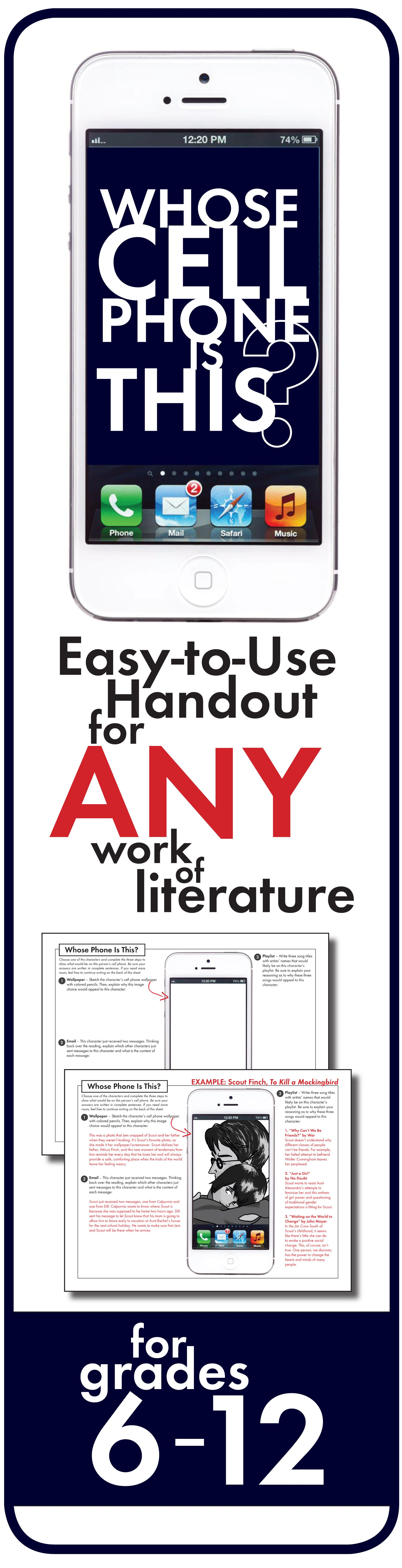 Character Cell Phone Fun Writing Handout Use With Any