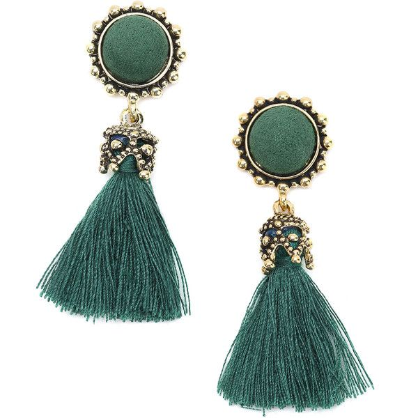 Gold Metal Green Tassel Earrings ❤ liked on Polyvore featuring jewelry, earrings, green tassel earrings, tassel earrings, green jewelry and green earrings