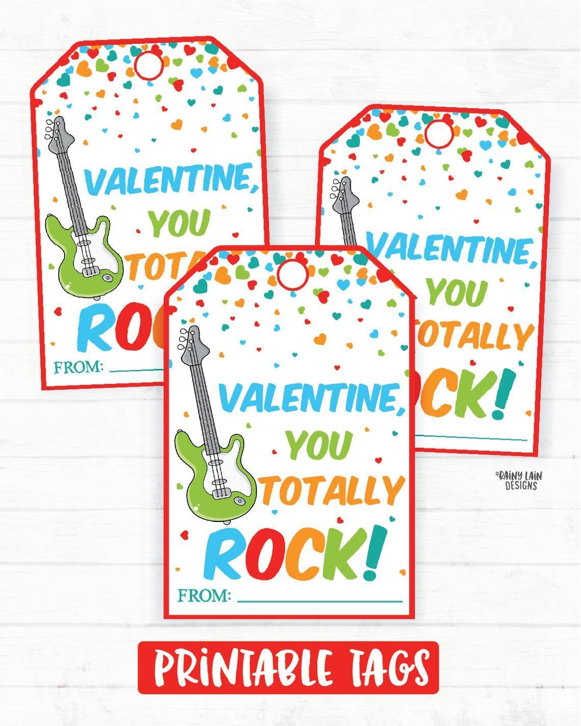 photo regarding Pop Rocks Valentines Printable called Oneself Rock Valentine, Guitar Valentine, Pop Rocks Valentine