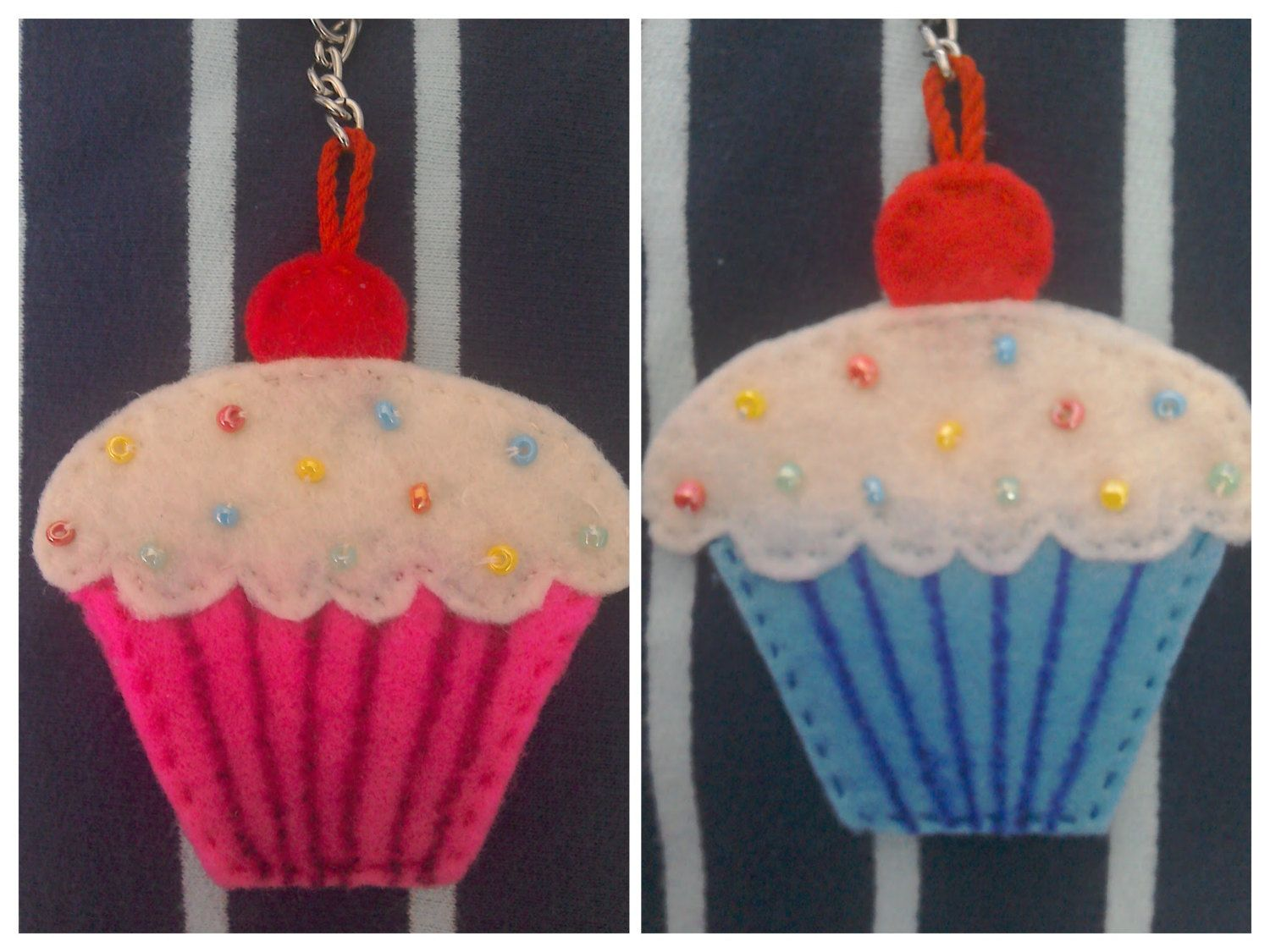 cupcake keyring, cupcake keychain, gift for her, cake lovers gift, cake keychain, gift for mum, mother's day gift, cupcake bag charm by TheCraftingGardener on Etsy