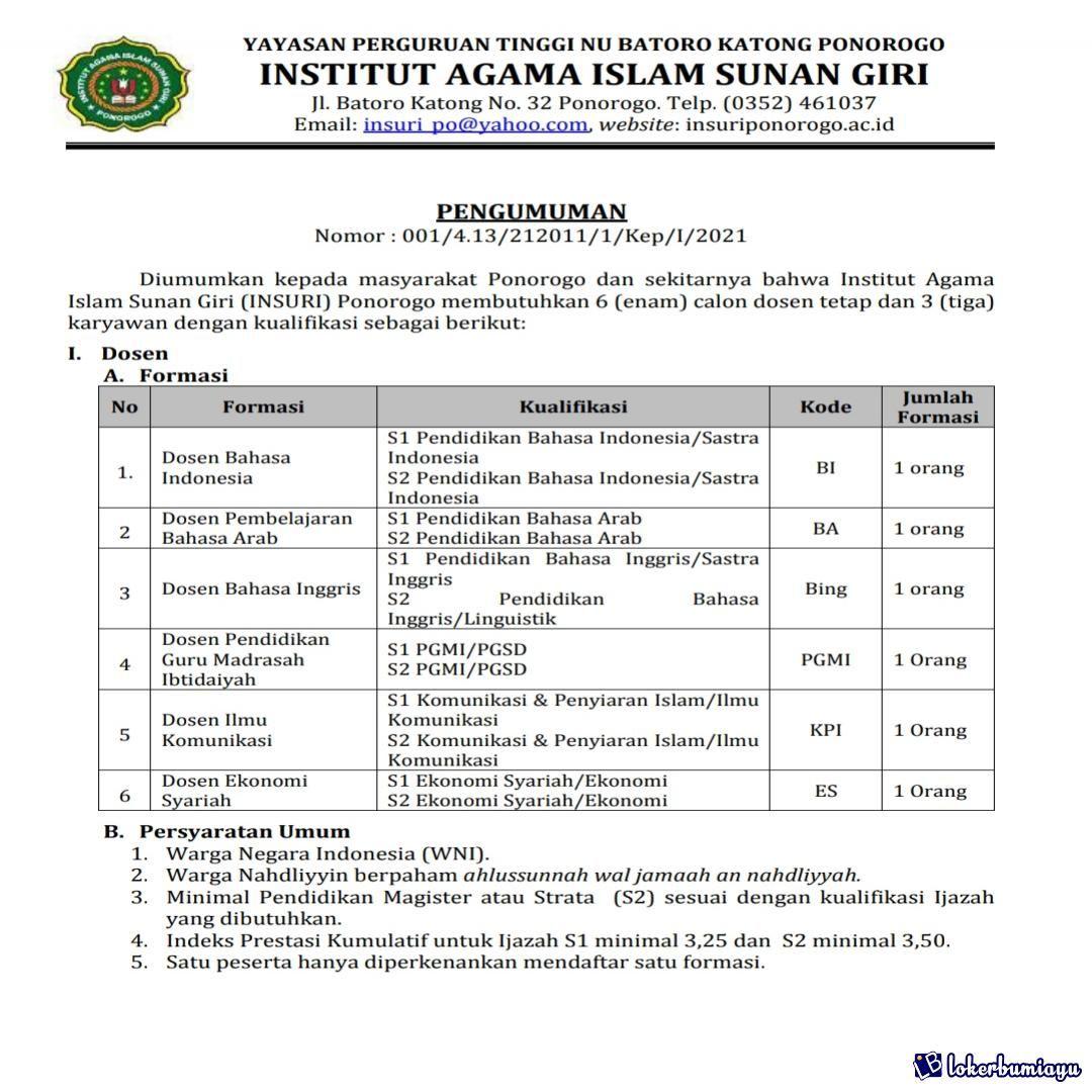 Lowongan Kerja Institut Agama Islam Sunan Giri Ponorogo Di 2021 Agama Islam Riwayat Hidup