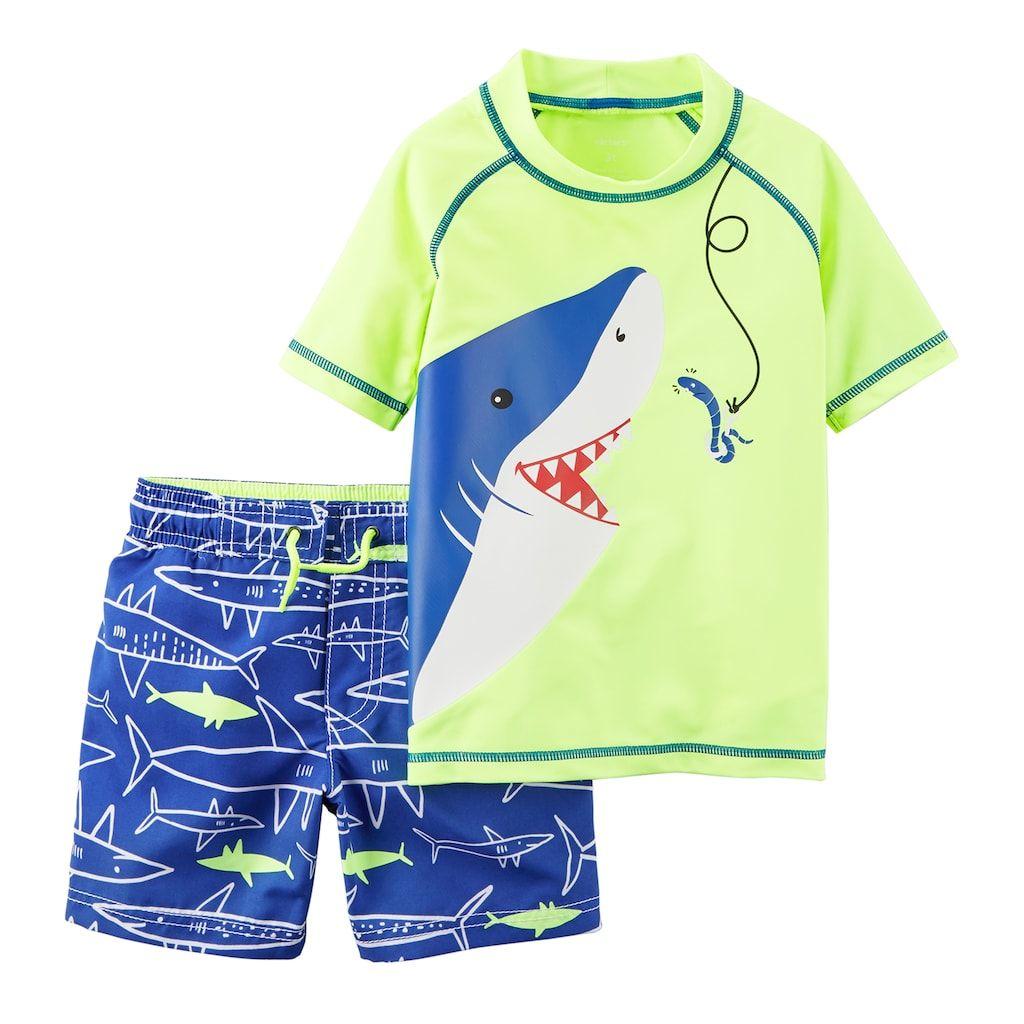 6269ae9fa2 Toddler Boy Carter's Shark Rash Guard & Swim Trunks Set in 2019 ...