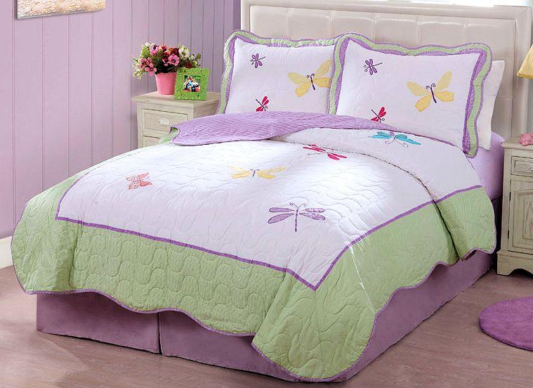 Purple Green Butterfly Dragonfly Bedding Little Girls Full/Queen Kids Bedspread Quilt Set