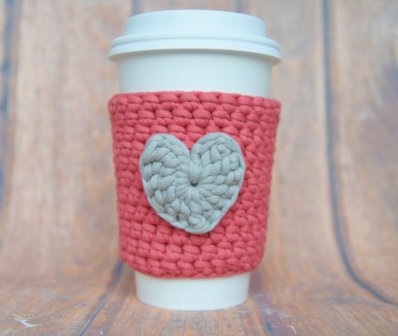 Coffee Cup Sleeve Crochet Cozy With Heart Gift For Coffee Drinker Travel Mug Cozy Coffee Mug Sweater Gift For Her With Images Coffee Sleeve Coffee Lover Gifts Crochet Coffee Cozy