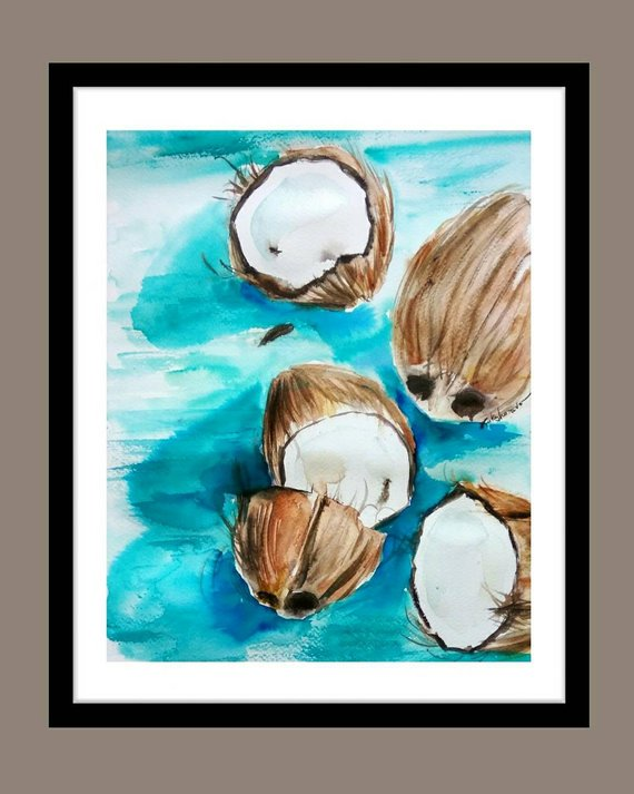 Coconuts On Turquoise Table Original Watercolor Painting Kitchen