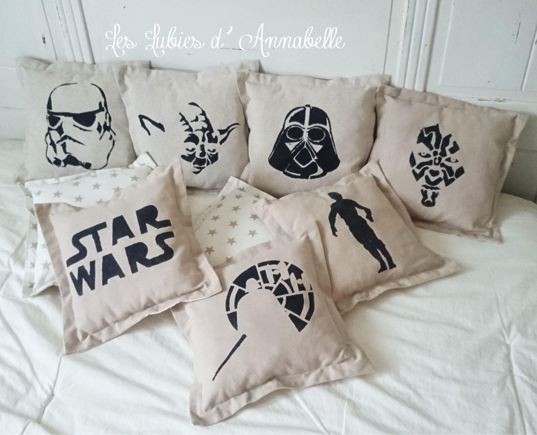 Coussin Star Wars Maitre Jedi En Lin Et Tissu Blanc Etoiles