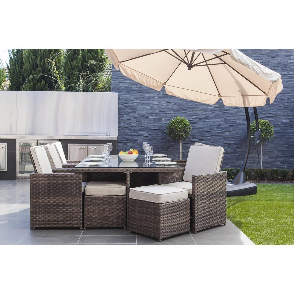 Direct Wicker Malta Variegated Brown 11 Piece Wicker Outdoor Dining Set With Beige Cushions Pad 3234 In 2020 With Images Wicker Dining Tables Buy Outdoor Furniture Outdoor Dining Set