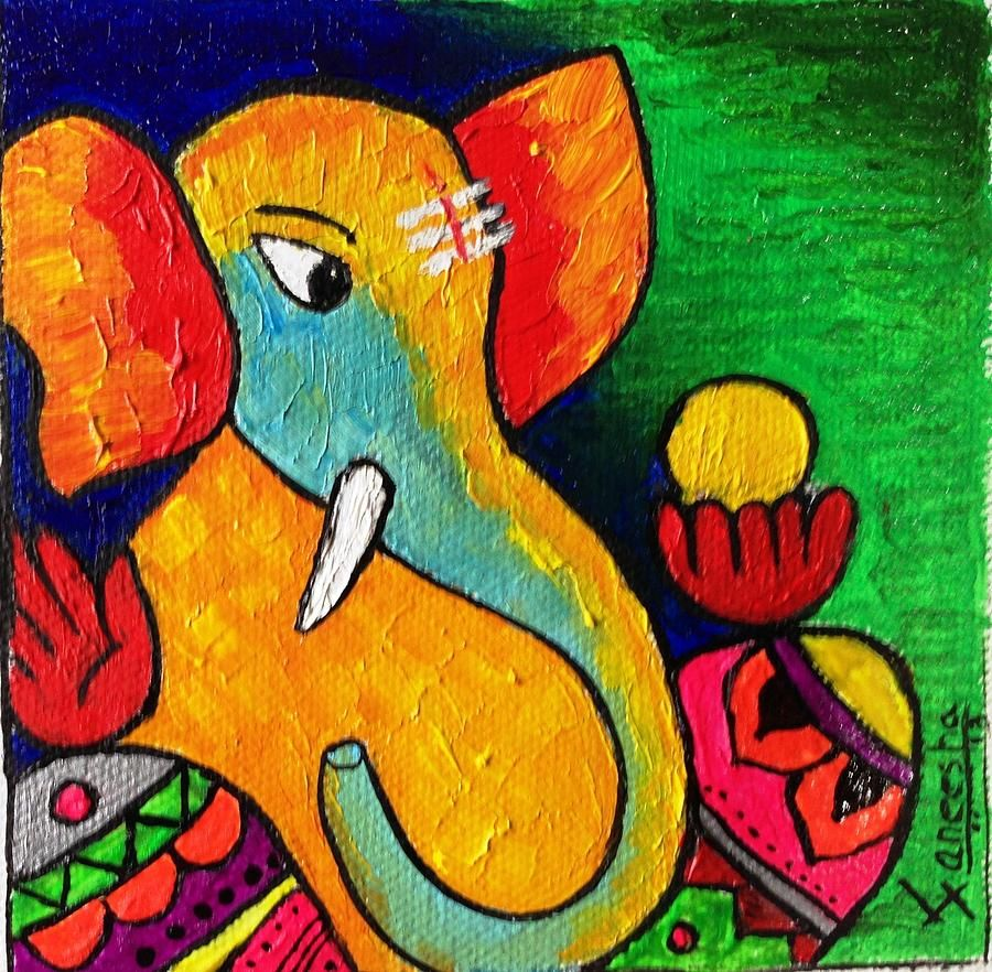 Lord ganesha multi color painting hd image - Ganesha Paintings Google Search