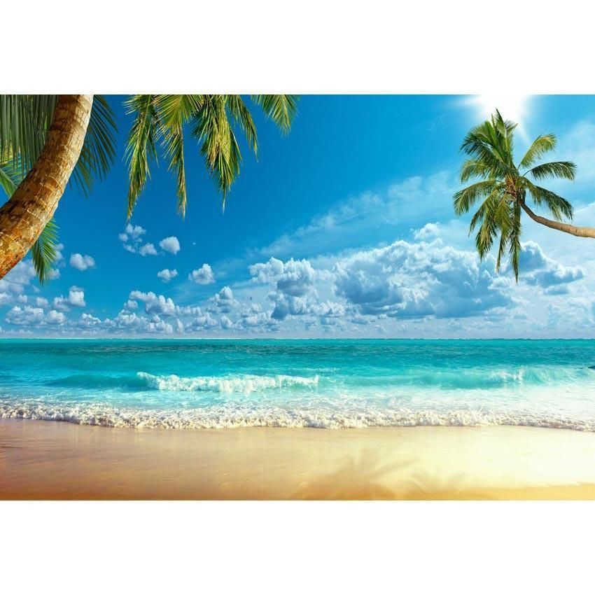 Sea Summer Scenery Backdrop for Seaside Party PhotographyWe can do any size and your custom backdrops with no extra charge. Please contact: service@starbackdrop.com