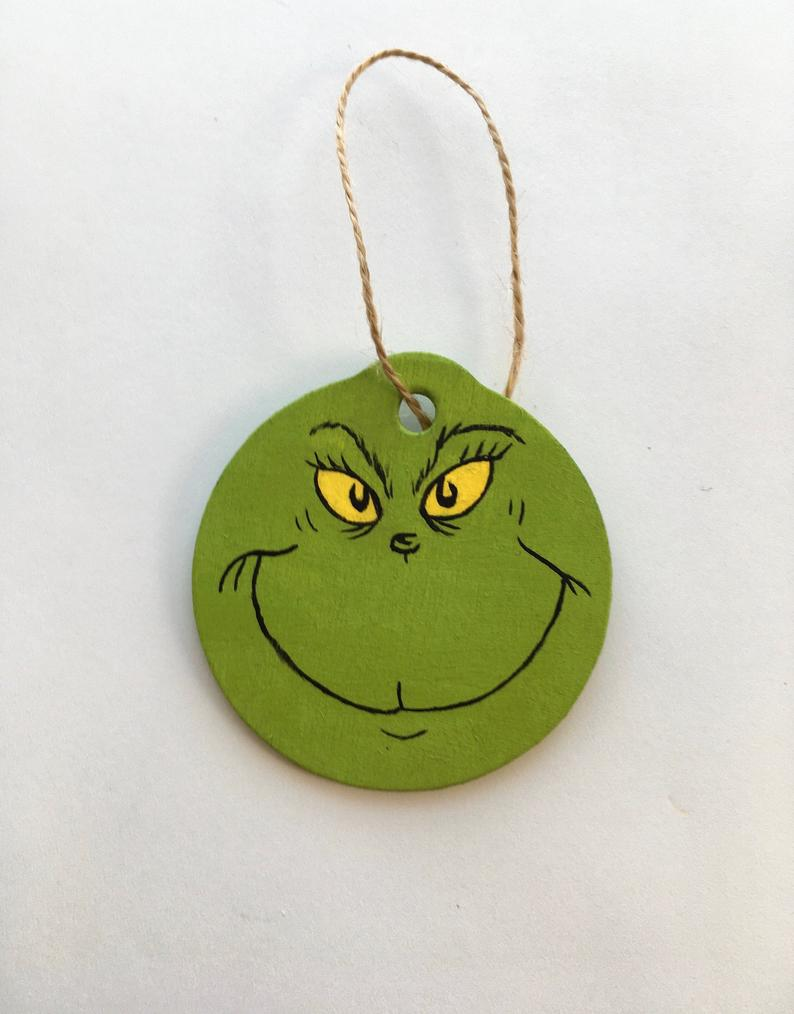 The Grinch Hand Painted Wooden Christmas Ornament Etsy Wooden Christmas Ornaments Hand Painted Ornaments Christmas Ornaments
