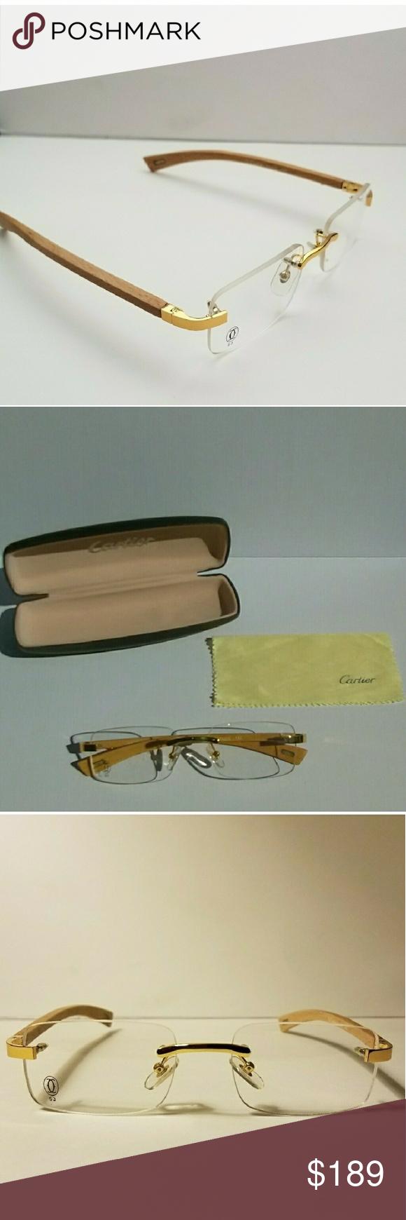 17459c45d385 Cartier Half Rim Sunglasses Tan Wood Frame « One More Soul