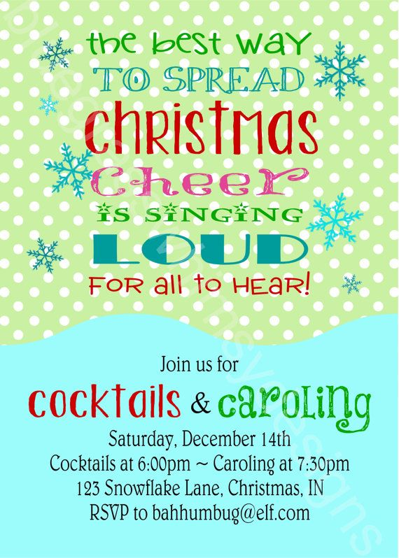 Buddy the ELF Quote, Cocktails \ Caroling Printable Holiday Party - invitation quotes for freshers party