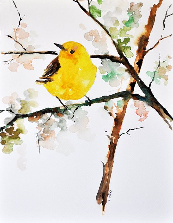 ORIGINAL Watercolor painting Bird painting Yellow Finch ...