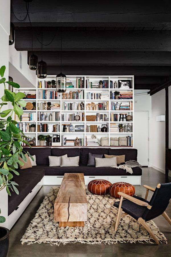 farbschema wohnzimmer bibliothek trendig design ideen schubladen