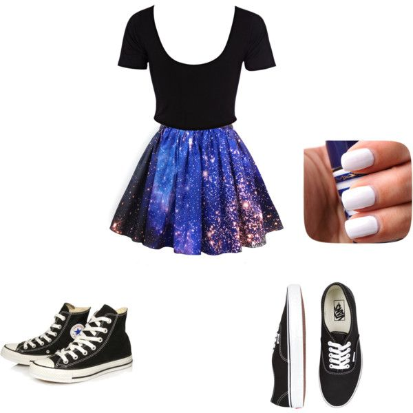 66c353b664 crop top and galaxy skirt by ustayclassysd on Polyvore featuring River  Island, Vans and Converse