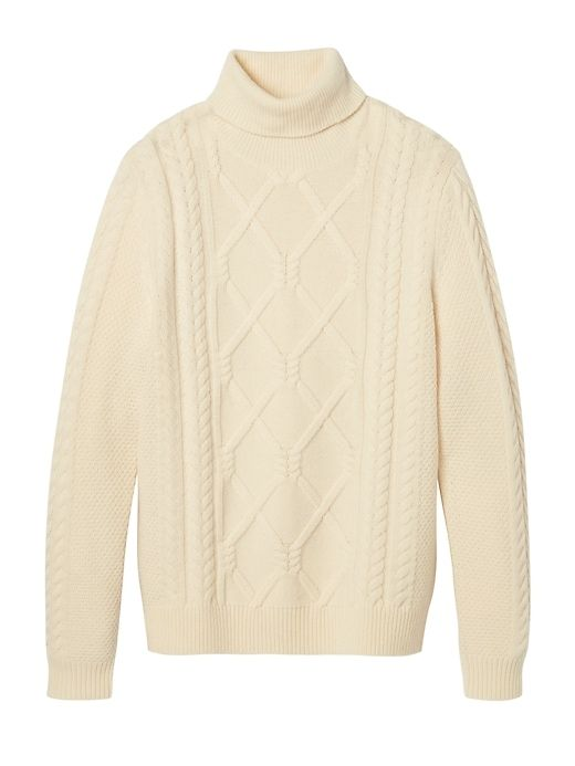 21214528e1ef6 Banana Republic Mens Heritage Mariner Cable-Knit Turtleneck Cream ...