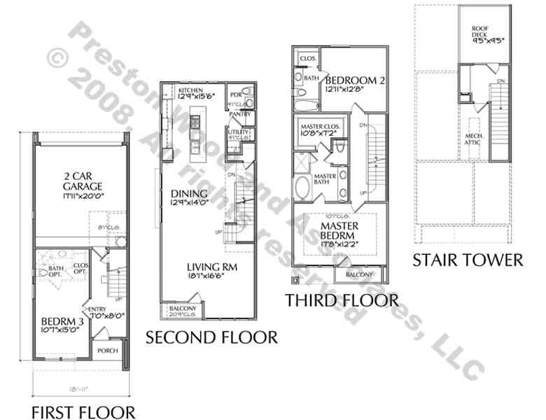 Townhouse plan residential townhouse pinterest for Townhouse layout 3 bedrooms