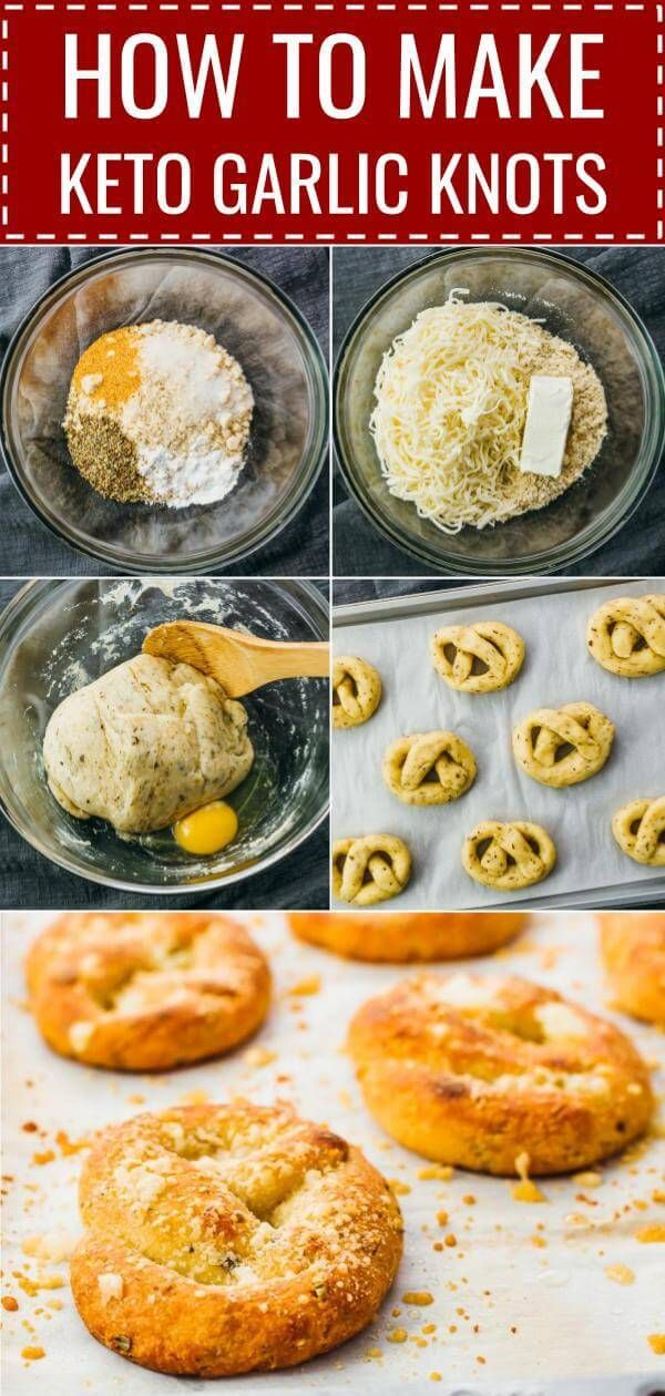 These are AMAZING keto garlic knots! Better than bread sticks. Cheesy, soft, and I can't believe it's keto because it feels like I'm cheating. The recipe is easy and quick, uses a standard fathead dough, and great for anyone on a low carb, gluten free, and grain free diet. Click the pin to find the recipe, nutrition facts, cooking tips, & step-by-step photos.  #healthy #healthyrecipes #lowcarb #keto #ketorecipes #glutenfree / almond flour / cream cheese / eggs / microwave / best #eggnutritionfacts
