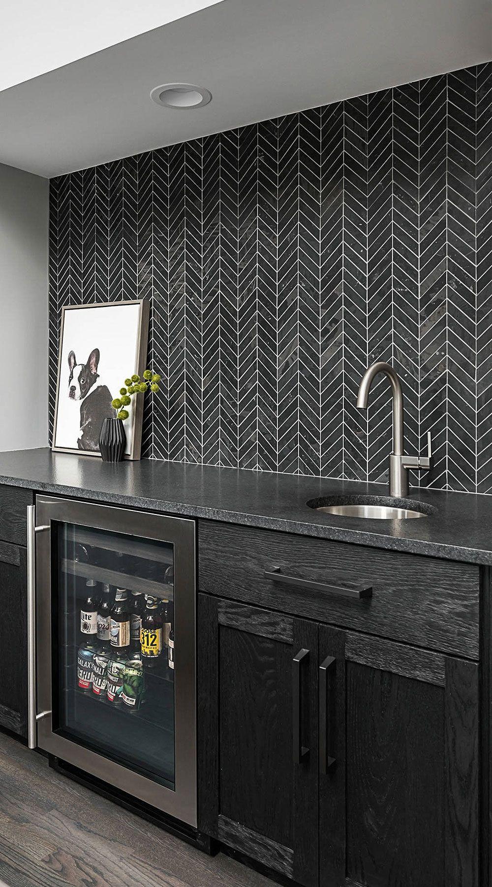 31 Black Subway Backsplash Ideas The Power Of Black Color Contemporary Kitchen Backsplash Basement Bar Designs Black Kitchens Dark tile kitchen backsplash