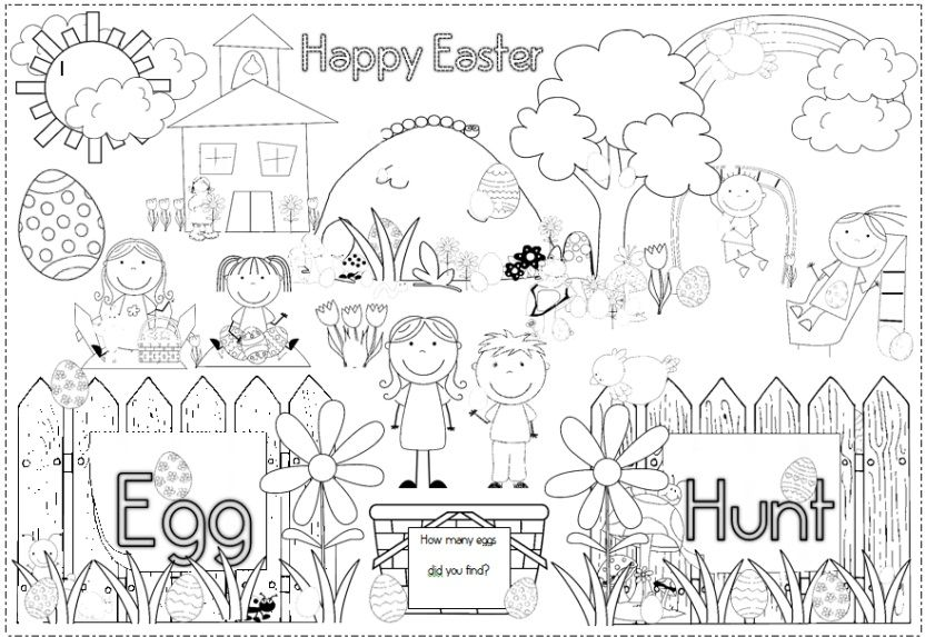 Free Easter Egg Hunt Poster And Coloring Page Easter Coloring Pages Easter Art Coloring Pages