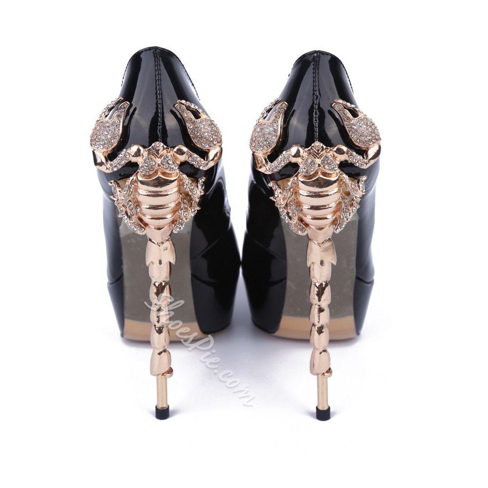 Shoespie Black Patent Leather Peep-toe Stiletto Heels