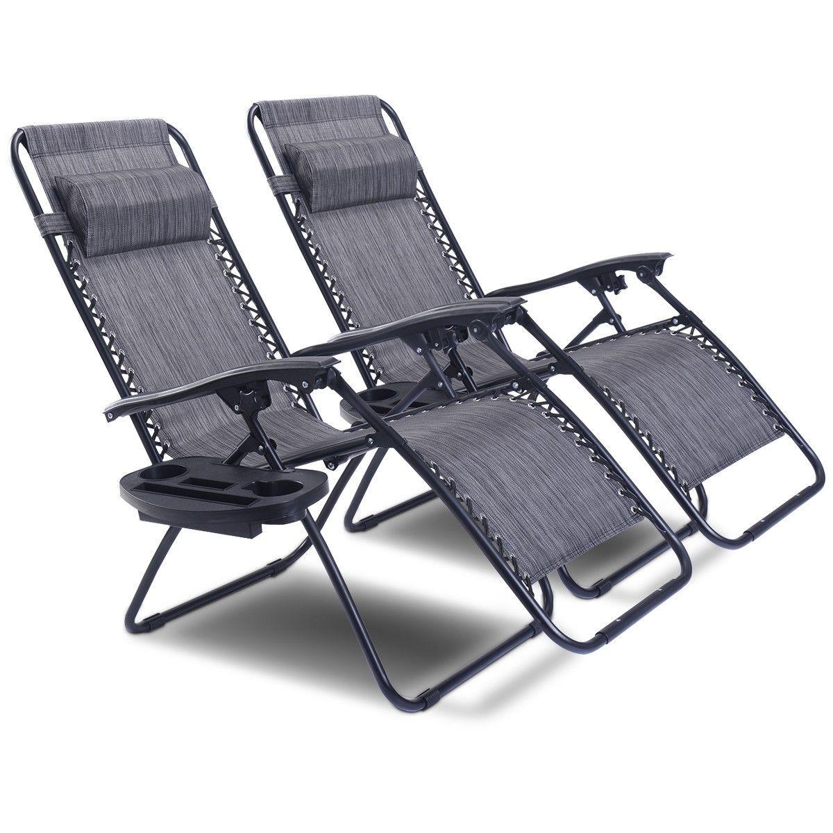 2 Pcs Folding Lounge Chair With Zero Gravity Gray Lawn Chairs