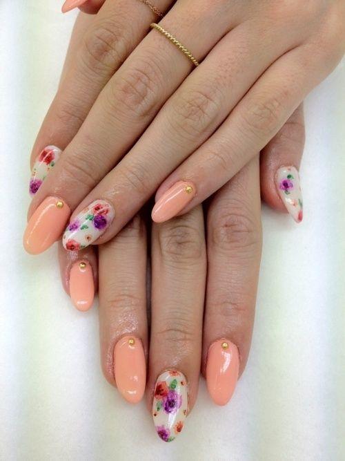 Stiletto nails summer nails floral peach
