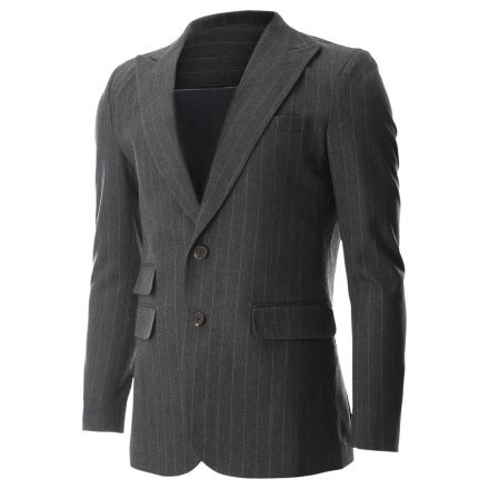 FLATSEVEN Mens Peaked Lapel Striped 2 Button Wool Blazer Jacket with Ticket Pocket (BJ471) - Blazers #BLACKFRIDAY #CYBERMONDAY #MENS CLOTHING #mens fashion #mens outfits #MENS CLOTHES #MENS JACKET #MENS BLAZER #MENS CASUAL JACKET #outfits #blazer #mens jacets
