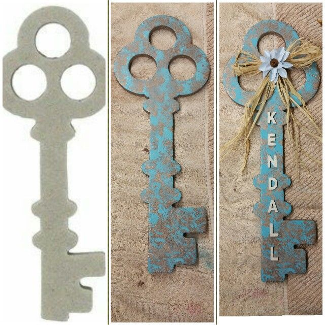 Thick Cardboard Key From Hobby Lobby Decorated With Paint And Wooden Letters Handmade Bow Decorated With Flower From Wall Letters Diy Wooden Letters Key Diy