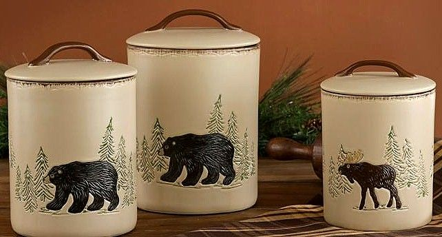 Elegant Bear Decorating Theme For Kitchen | Rustic Stoneware Moose Bear 3 Piece  Food Safe Canister Set