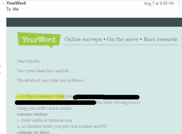 2nd Instant 5 Domino S Gift Card From Your Word No Paypal But They