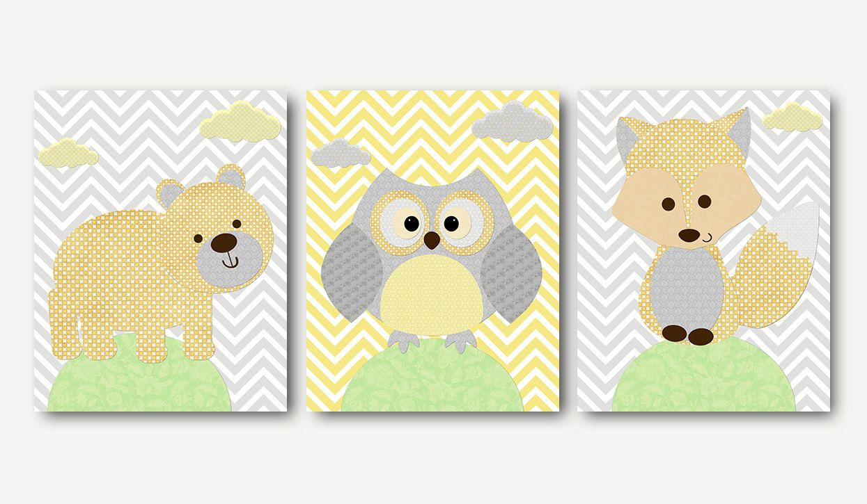 Grey Yellow Fox Bear Owl Wall Art Canvas Print Childrens Room Kids ...