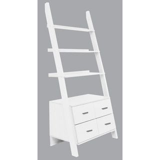 Shop For White Finished Leaning Ladder Bookshelf With Drawers Get Free Shipping At Overstock