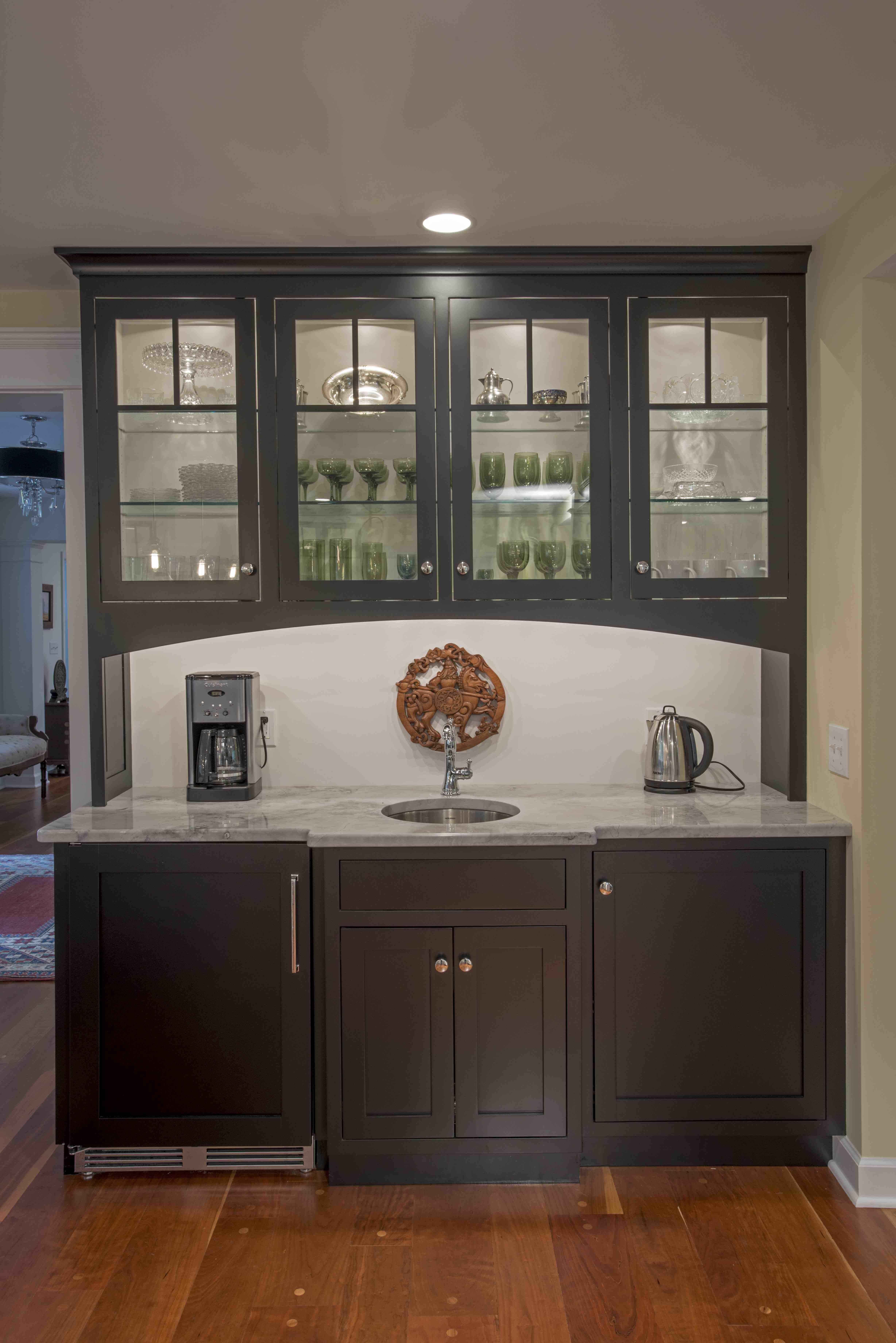 Lovely custom bar/coffee area with a wine fridge and small ...