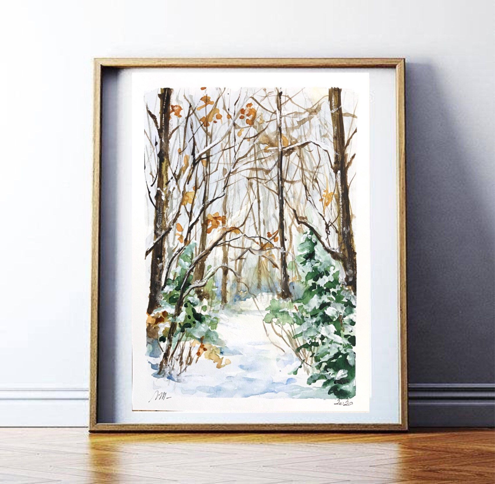 Aquarelle Peinture Originale Chemin En Foret Enneigee Paysage