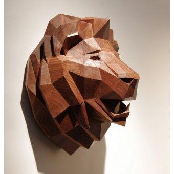 Paperwolf Löwenkopf aus Schwarznuss