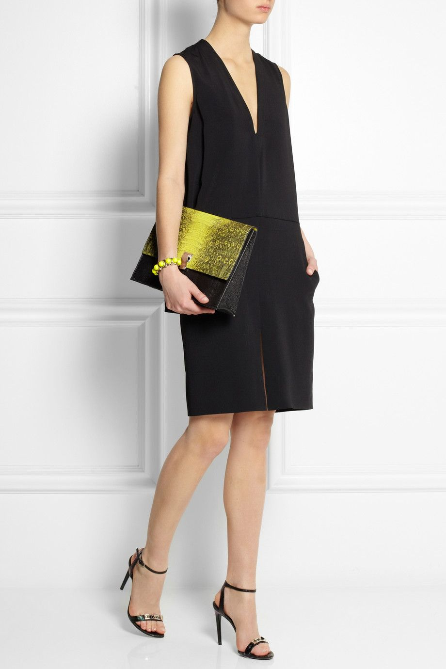 Proenza Schouler | Lunch Bag lizard-effect leather clutch and shoes with a Stella McCartney dress