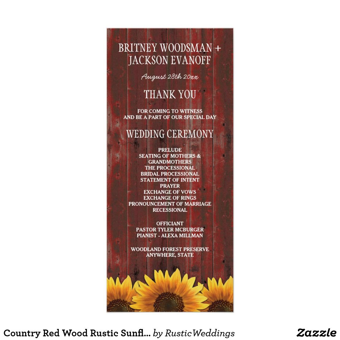 Country Red Wood Rustic Sunflower Wedding Programs | Rustic ...