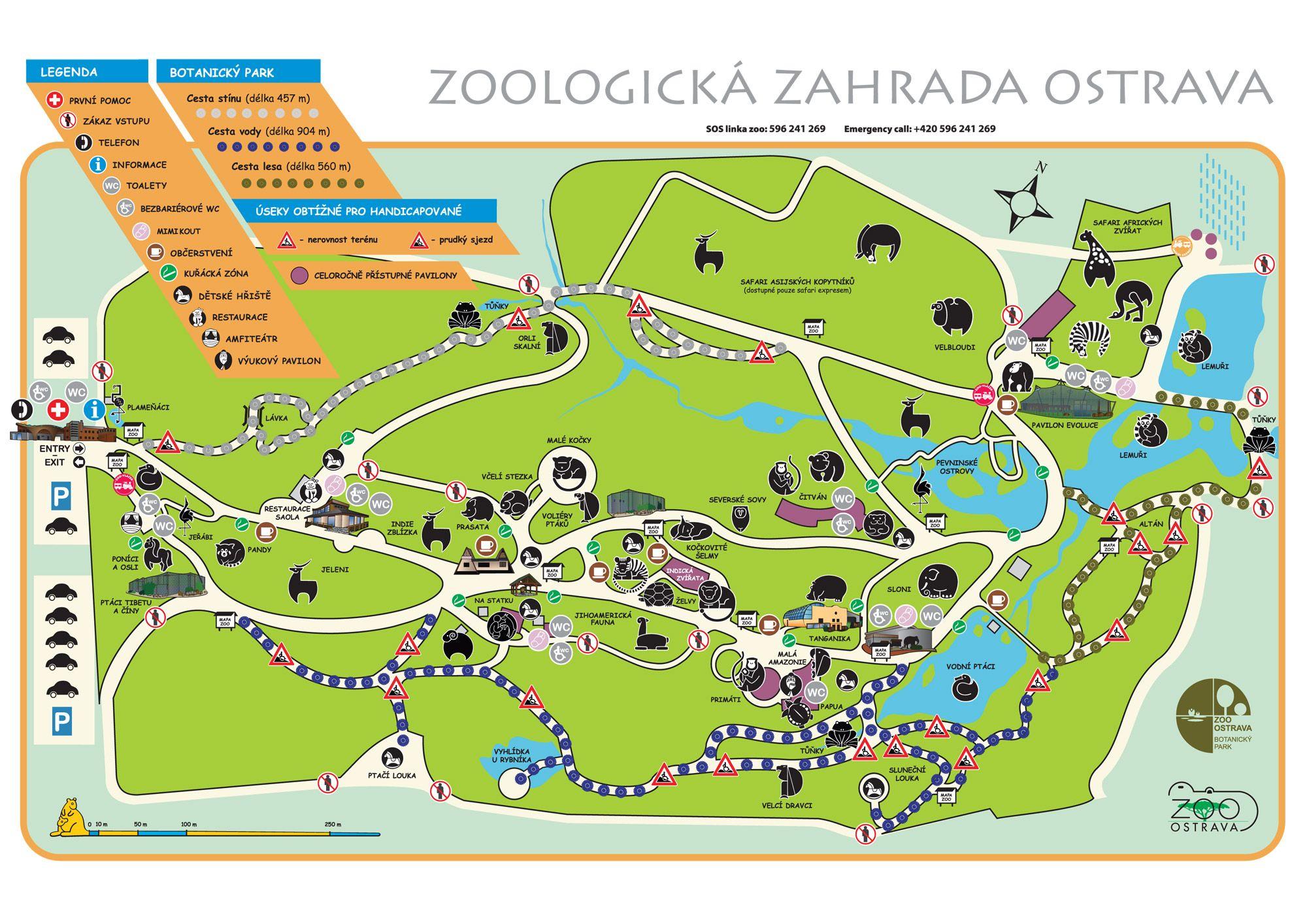 Mapa zoo Ped nvtvou Zoo Ostrava OSTRAVA Czech Republic