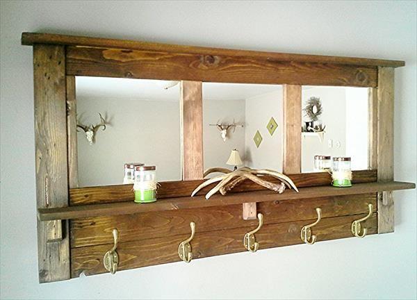 porte manteaux en palettes avec miroir pour l 39 entr e diy meubles pinterest meubles. Black Bedroom Furniture Sets. Home Design Ideas