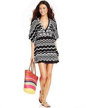 a744ad3eb8e9c La Blanca Kimono-Sleeve Printed Caftan Cover-Up - Swimwear - Women - Macy's