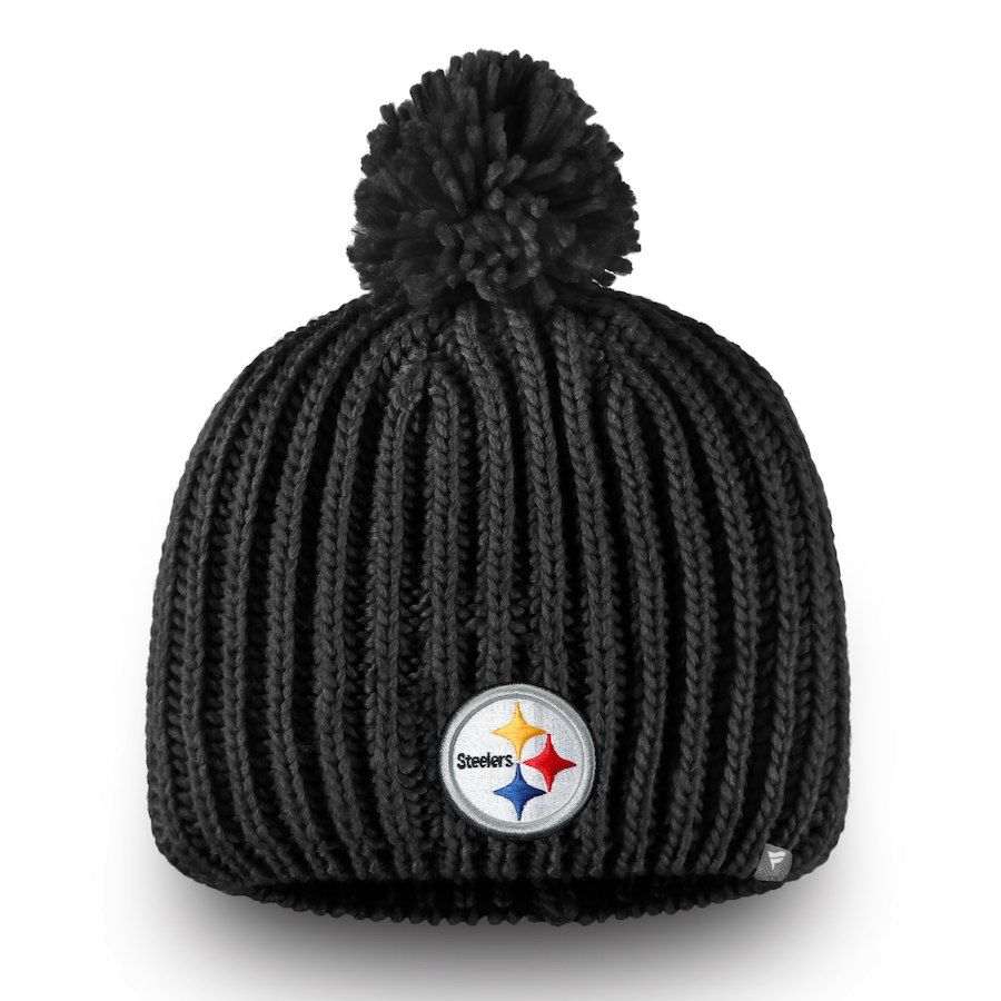 66af0431dd3 Women s Pittsburgh Steelers NFL Pro Line by Fanatics Branded Black Iconic  Ace Knit Hat With Pom